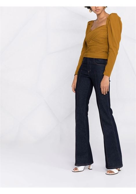 Draped top with sweatheart neckline ocher -women  SELF-PORTRAIT   PF21031TTPND
