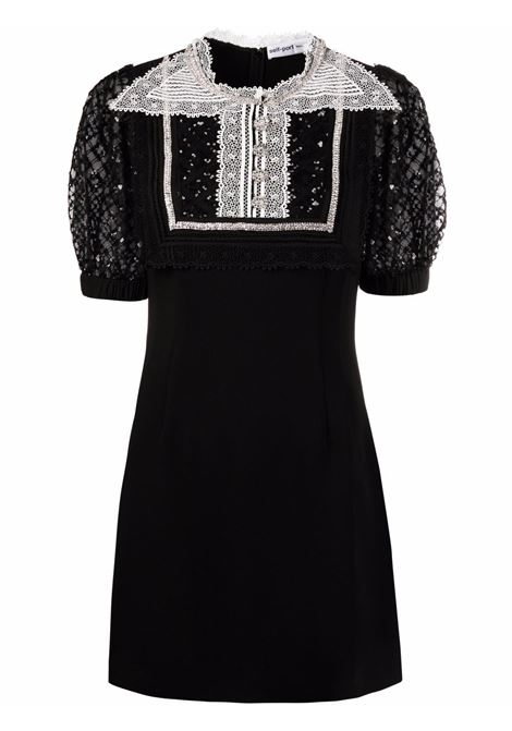 Black and white sequin-embellished collared mini dress - women SELF-PORTRAIT | Dresses | PF21038BLK