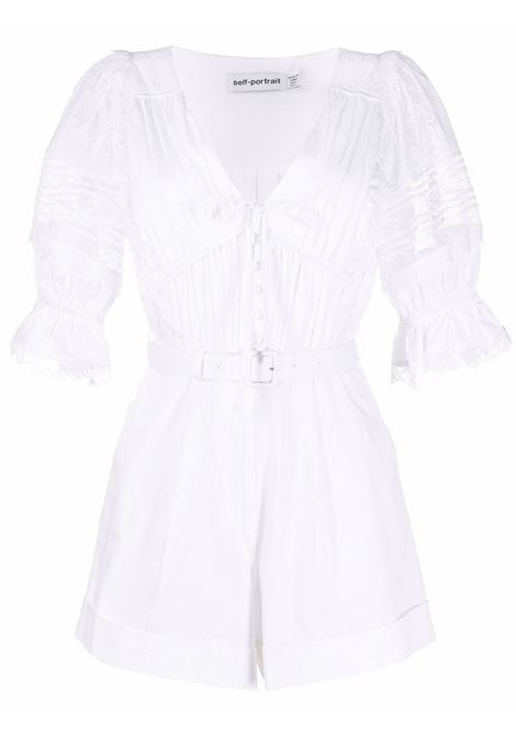 White lace-embellished belted jumpsuit - women SELF-PORTRAIT | Jumpsuit | PF21047JWHT