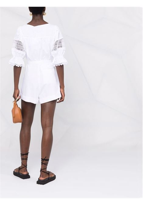 White lace-embellished belted jumpsuit - women SELF-PORTRAIT | PF21047JWHT
