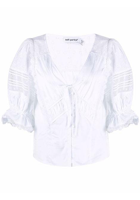 Broderie anglaise-detailed blouse white -women SELF-PORTRAIT | Blouses | PF21047TAWHT