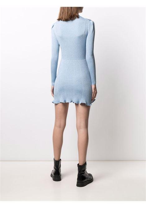 Metallized ribbed-knit dress light blue - women SELF-PORTRAIT   PF21078BL