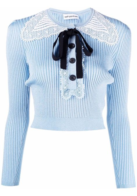 Lace collar knitted jumper SELF-PORTRAIT | Sweaters | PF21078TBL