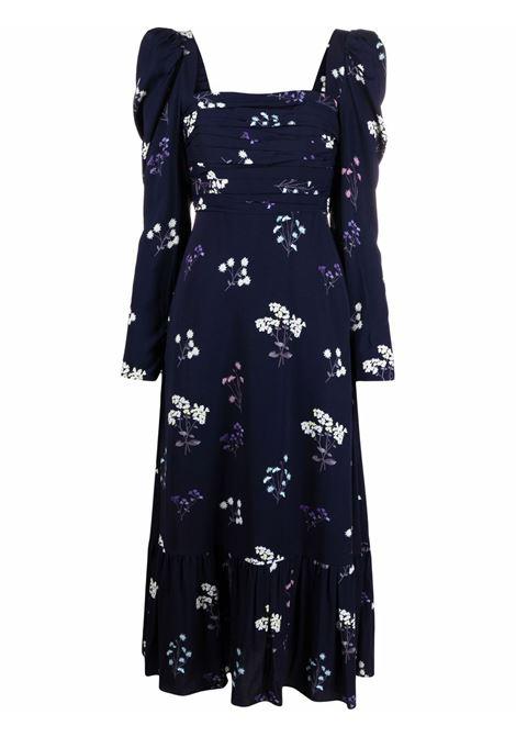 Vintage navy blue floral-print puff-sleeve dress - women SELF-PORTRAIT | Dresses | PF21085BNV