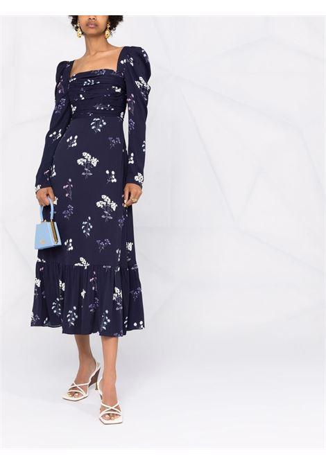 Vintage navy blue floral-print puff-sleeve dress - women SELF-PORTRAIT | PF21085BNV