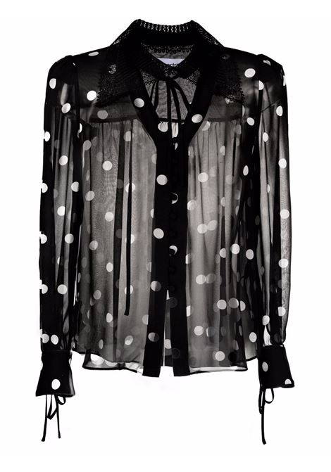 Semi-sheer polka-dot print blouse black - women SELF-PORTRAIT   PF21093BLKWHT