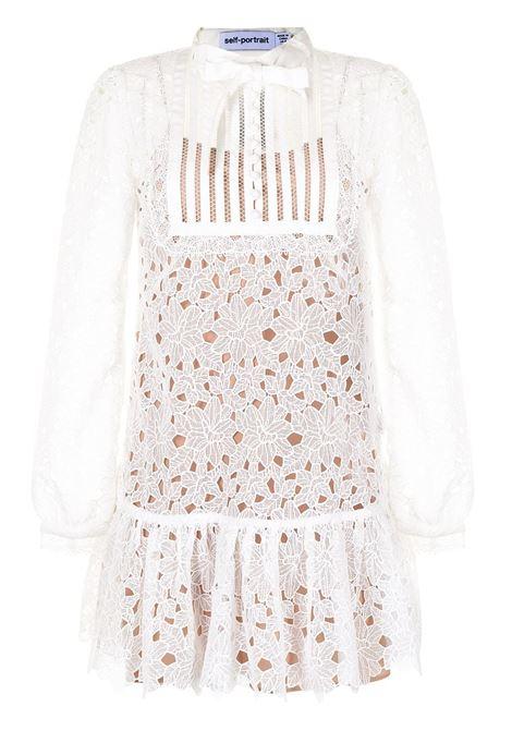 Bib detail lace dress white - women SELF-PORTRAIT | Dresses | PF21104WHT