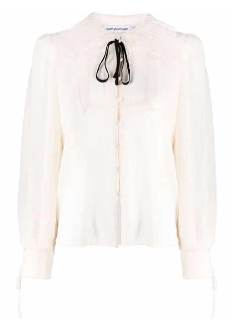 Bib-collar embroidered blouse ivory white - women SELF-PORTRAIT | Blouses | PF21114IVRY