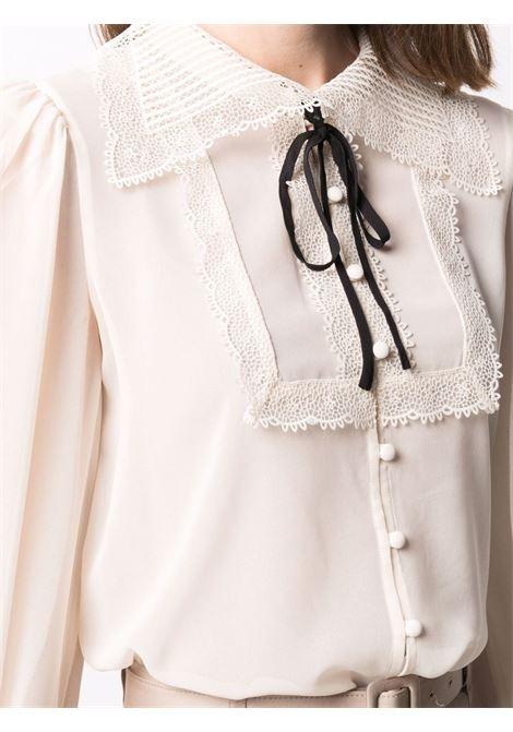 Bib-collar embroidered blouse ivory white - women SELF-PORTRAIT   PF21114IVRY