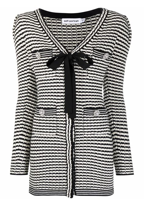 Stripe-detail knitted dress black and white - women  SELF-PORTRAIT | Dresses | PF21119MNCHRM