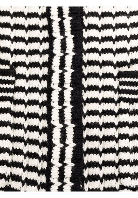 Stripe-detail knitted dress black and white - women  SELF-PORTRAIT   PF21119MNCHRM