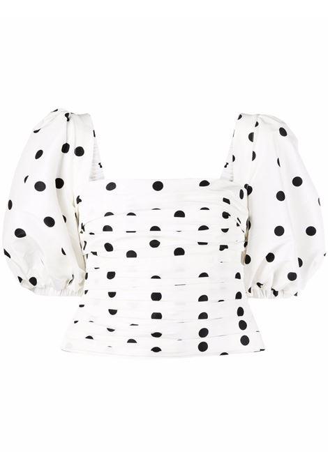 White and black polka-dot print top - women  SELF-PORTRAIT | Top | PF21123WHTBLK
