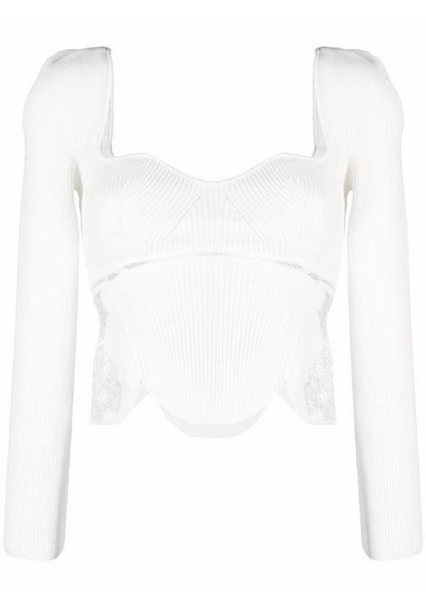 Ribbed lace-detail crop top white - women SELF-PORTRAIT | Top | PF21943IVRY