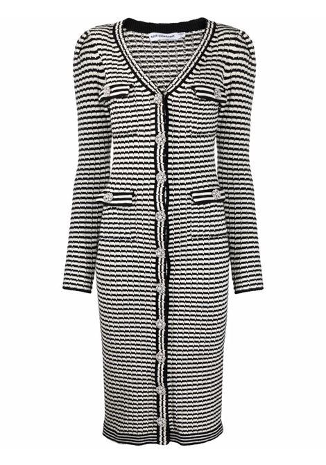 Striped knit cardigan dress black and white - women SELF-PORTRAIT | Sweaters | PF21947MNCHRM