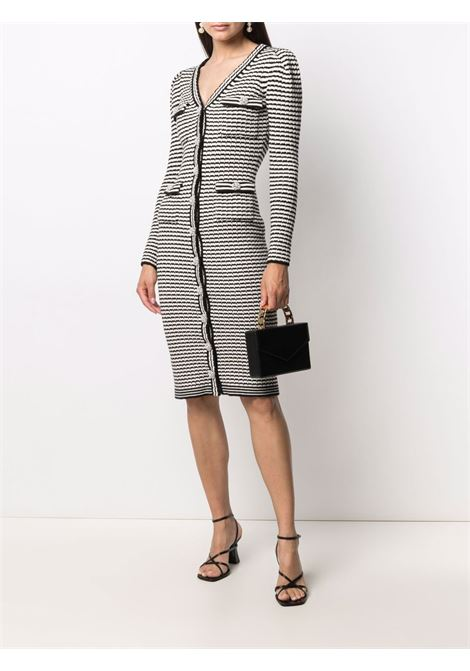 Striped knit cardigan dress black and white - women SELF-PORTRAIT   PF21947MNCHRM