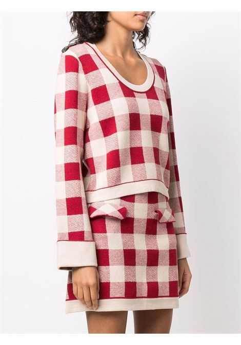 Gingham-print jumper in red and white - women  SELF-PORTRAIT   SC21010RD
