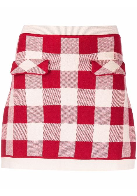 Gingham-print skirt in red and white - women  SELF-PORTRAIT   SC21011RD