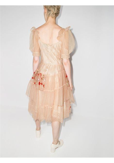 Abito midi con ricamo floreale in beige - donna SIMONE ROCHA   71030435CRPNGND