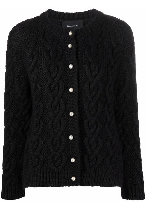 Cardigan a girocollo con maglia intrecciata in nero - donna SIMONE ROCHA   WMK160640BLK