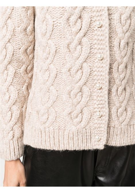 Cardigan a girocollo con maglia intrecciata in beige - donna SIMONE ROCHA   WMK160640FWN