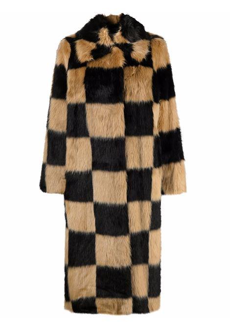 Cappotto in eco-pelliccia a quadri in nero e beige - donna STAND STUDIO | 61129902089920