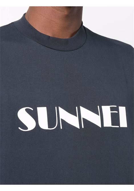 T-shirt con stampa in blu e bianco - uomo SUNNEI | SNW1XH01APJE130501