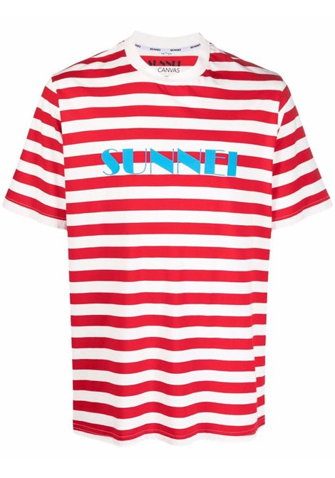 T-shirt a righe in bianco e rosso - uomo SUNNEI | SNW1XH01BPJR012R19