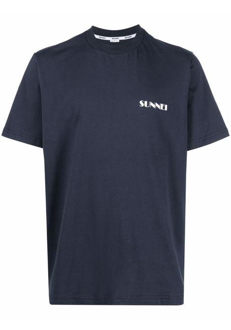 T-shirt con stampa in blu scuro - uomo SUNNEI | SNW1XH01CPJE130501