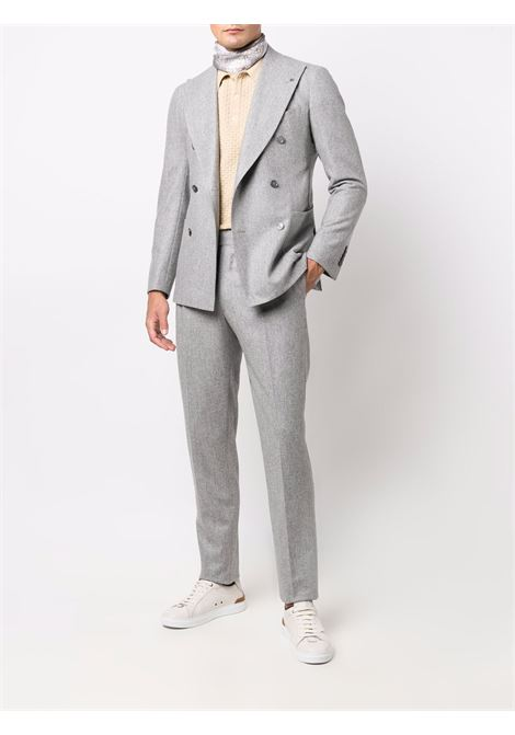 Button-front two-piece tailored suit in grey - men  TAGLIATORE | APL20KBR070039P3384