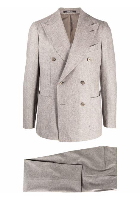 Button-front two-piece tailored suit in beige - men  TAGLIATORE | APL20KBR070039T3386