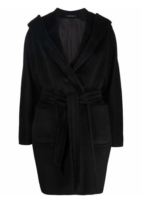 Cappotto con cappuccio e cintura in nero - donna TAGLIATORE | CHELSEYD70004N602