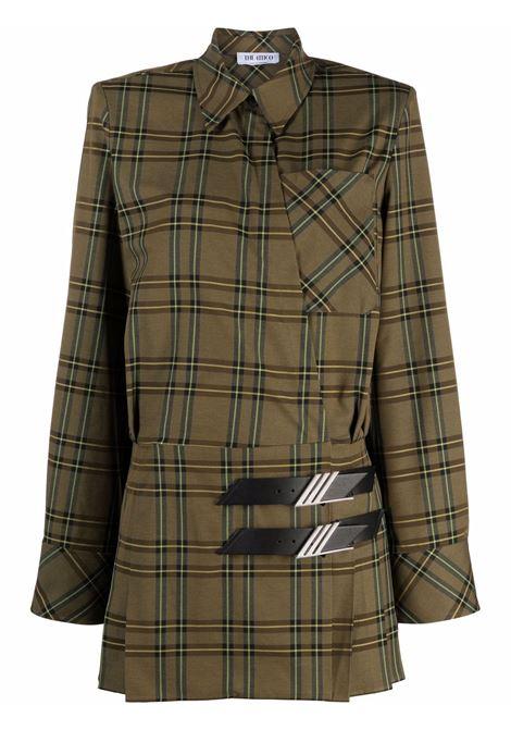 Check-print mini shirtdress in military green - women  THE ATTICO   214WCA74E032219