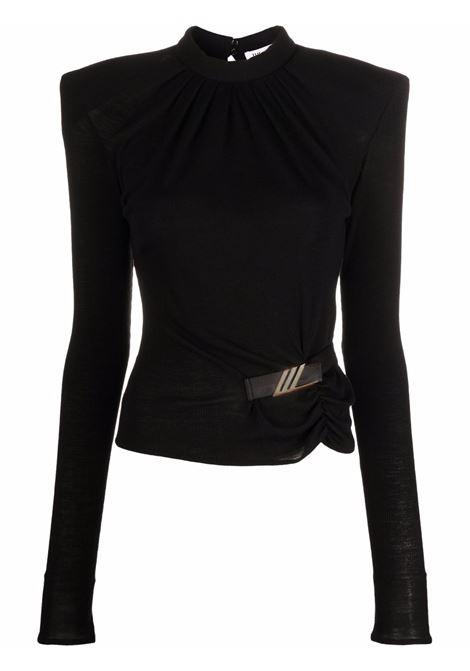 Top con maniche strutturate in nero - donna THE ATTICO | 214WCT55J016100
