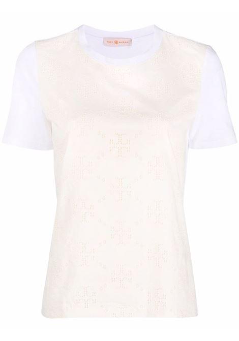 T-shirt a maniche corte con stampa monogramma  bianco - donna TORY BURCH | 82616100