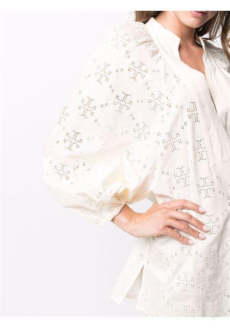 Camicia con stampa monogramma e maniche lunghe a sbuffo avorio - donna TORY BURCH | 84520104