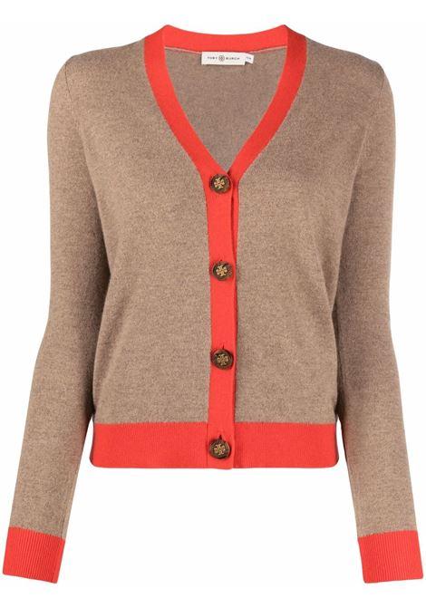Cardigan a maniche lunghe color tortora - donna TORY BURCH | 85425121