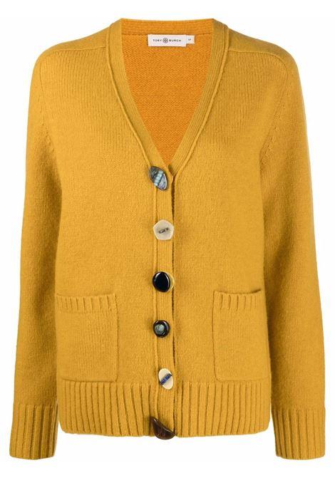 Cardigan con scollo a V in giallo - donna TORY BURCH | 86945352