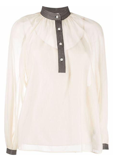 Blusa con bordo a contrasto color crema - donna TORY BURCH | 88411285