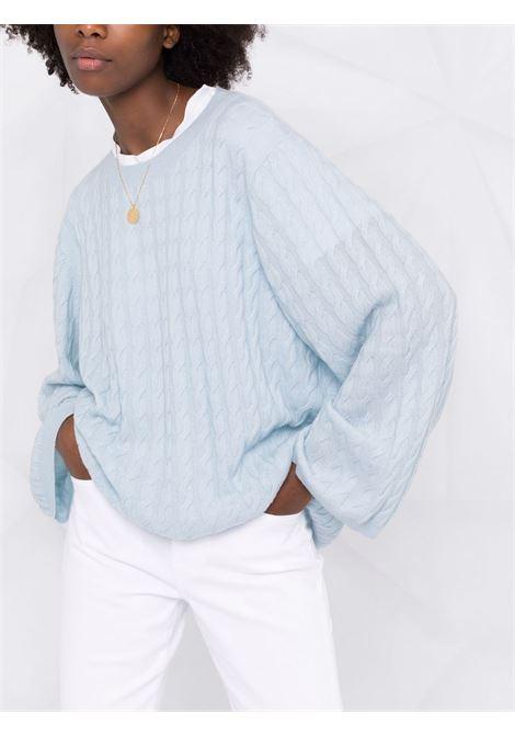 Banker blue cable knit jumper - women TOTEME | 213569753406