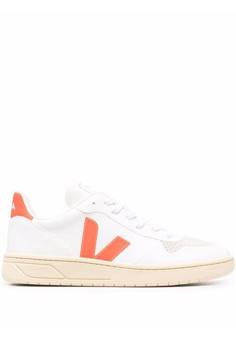 Sneakers V-10 in bianco e arancione - uomo VEJA | VX072719BWHTORNG