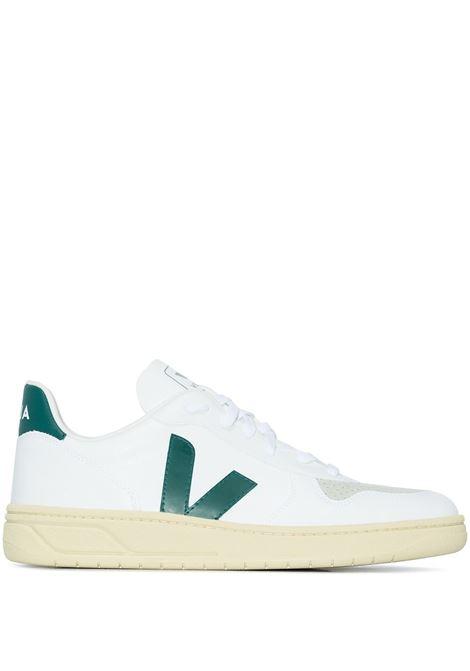 Sneakers V-10 in bianco e verde - uomo VEJA | VX072733BWHT