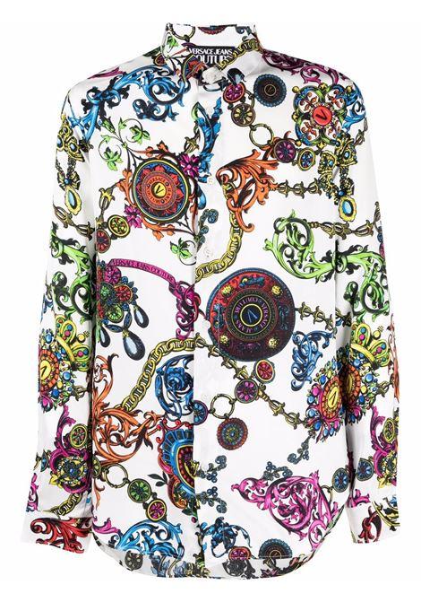 Camicia con stampa Regalia Baroque in bianco - uomo VERSACE JEANS COUTURE | 71GAL2S0NS007003