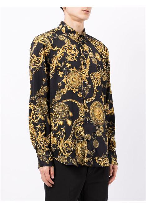 Camicia con stampa Regalia Baroque in nero - uomo VERSACE JEANS COUTURE | 71GAL2S0NS007G89
