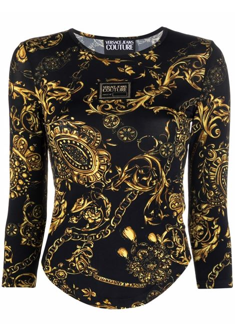 Top con stampa barocco in nero - donna VERSACE JEANS COUTURE | 71HAH216JS012G89