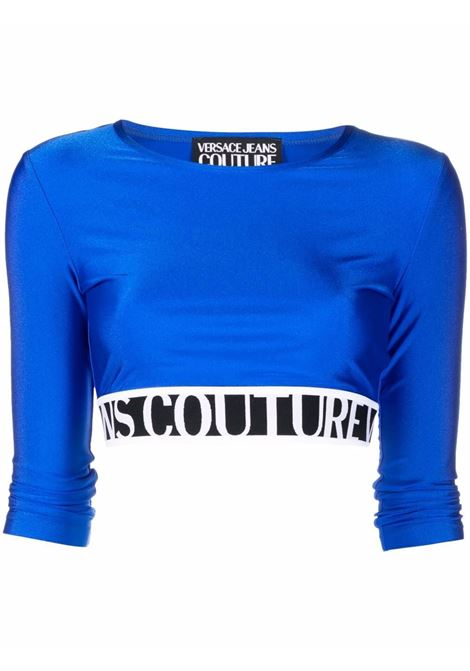 Top crop con logo in blu -donna VERSACE JEANS COUTURE | 71HAH218N0008243