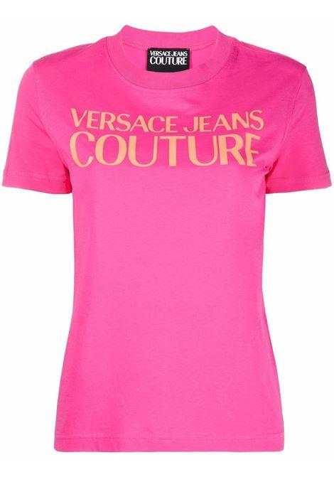 T-shirt a girocollo con logo in rosa - donna VERSACE JEANS COUTURE | 71HAHF00CJ00F455