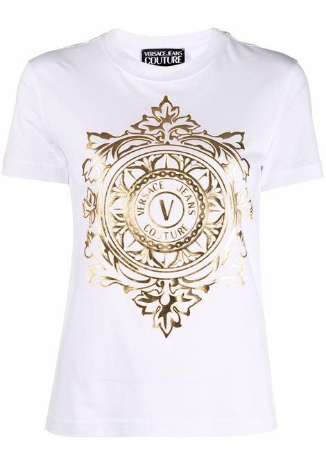 T-shirt a girocollo con logo in bianco - donna VERSACE JEANS COUTURE | 71HAHF06CJ00FG03
