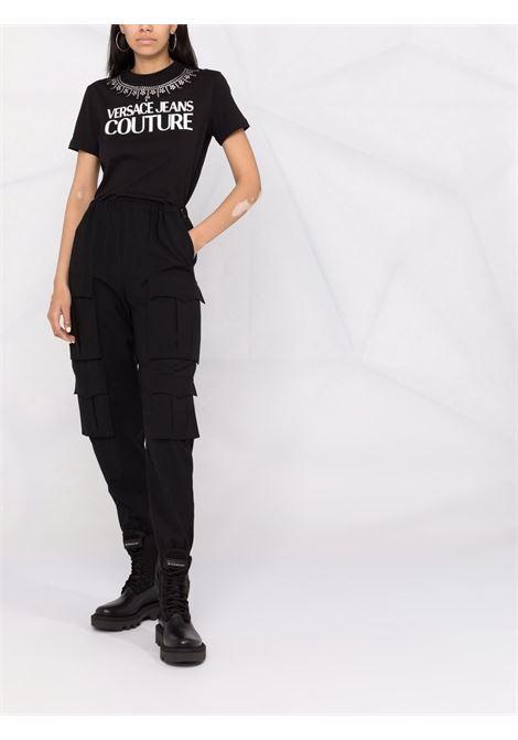 T-shirt a girocollo con logo in nero - donna VERSACE JEANS COUTURE | 71HAHG03CJ00G899