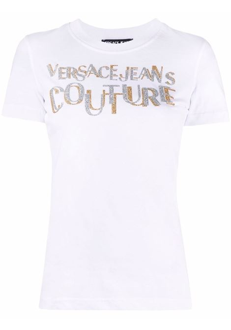T-shirt a girocollo con logo in bianco - donna VERSACE JEANS COUTURE | 71HAHT02CJ00TG03
