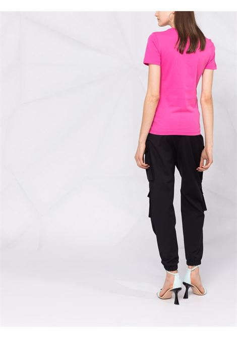 T-shirt a girocollo con logo in rosa - donna VERSACE JEANS COUTURE | 71HAHT10CJ00TS55